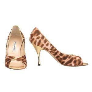 Manolo Blahnik Leopard Print Pony Hair Peep Heels
